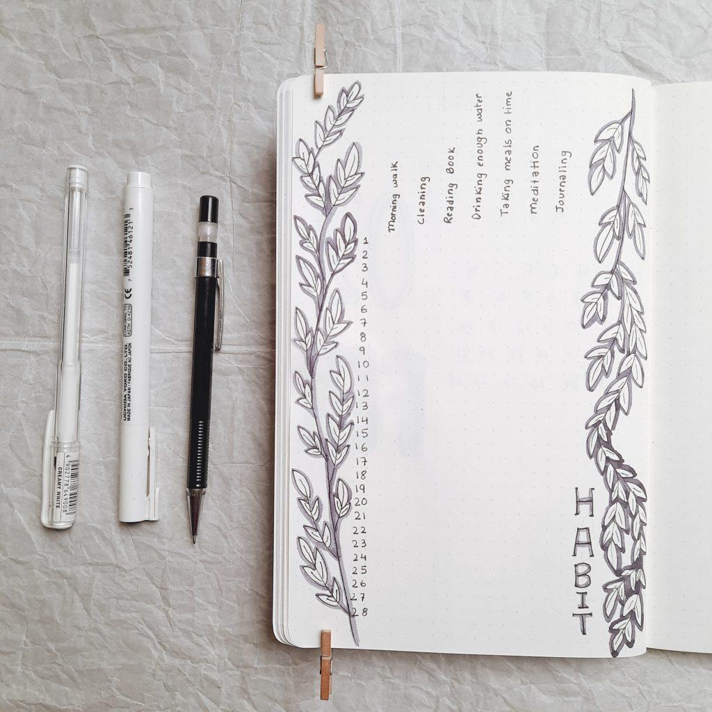 habit-tracker-minimalistic-bullet-journal-india