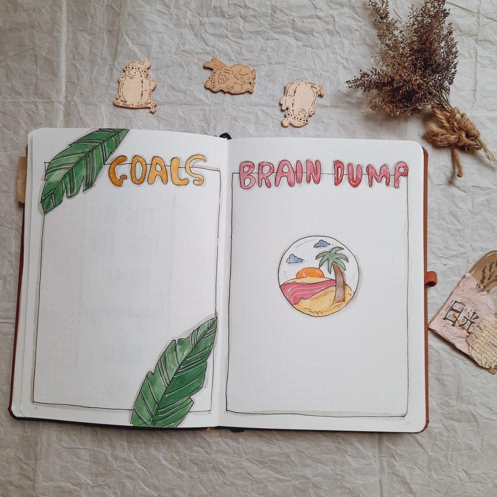 goals-and-brain-dump-spread-bullet-journal-india