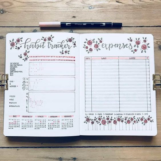 expense and habit tracker bullet journal india