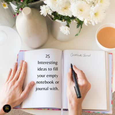 25 Interesting ideas to fill your empty journal or notebook with.