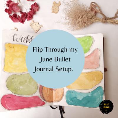 Flip Through my June Bullet Journal Setup